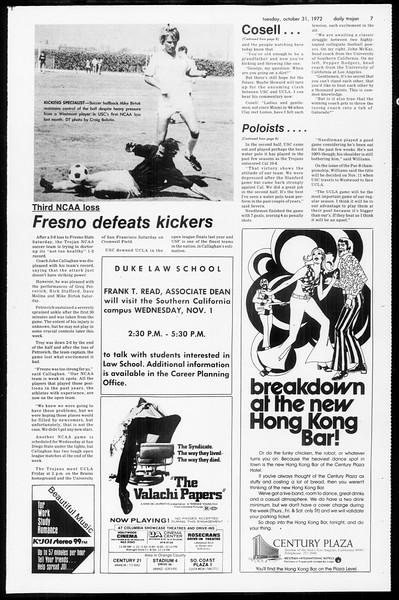 Daily Trojan, Vol. 65, No. 29, October 31, 1972