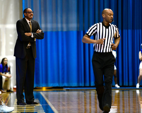 3/2/2019 Mike Orazzi | Staff CCSU Head Coach Donyell Marshall during Saturday's Mens basketball game with Fairleigh Dickinson in New Britain.