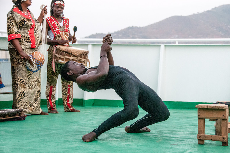 Sierra Leone National Dance Troupe performing on the ship