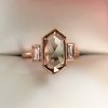 1.96ctw Fancy Golden Brown Hexagon Diamond and Baguette Trilogy Ring 11