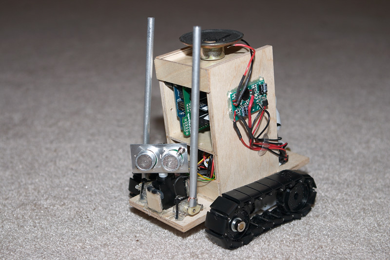 I put his head on a servo because that zippy little pager motor just wasn't precise enough