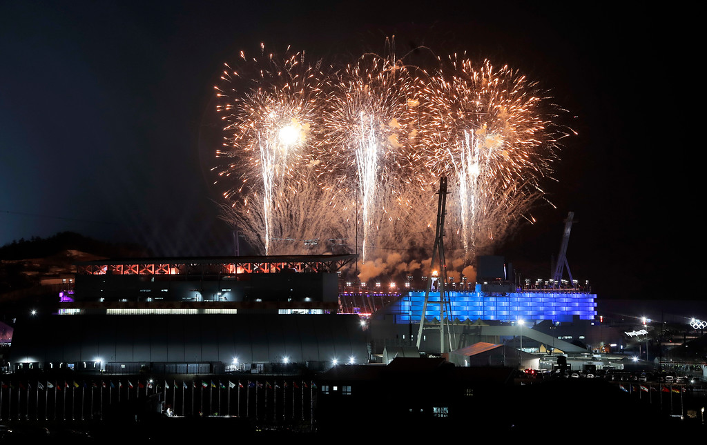 . Fireworks explode over the Olympic Stadium during the closing ceremony at the 2018 Winter Olympics in Pyeongchang, South Korea, Sunday, Feb. 25, 2018. (AP Photo/Dmitri Lovetsky)