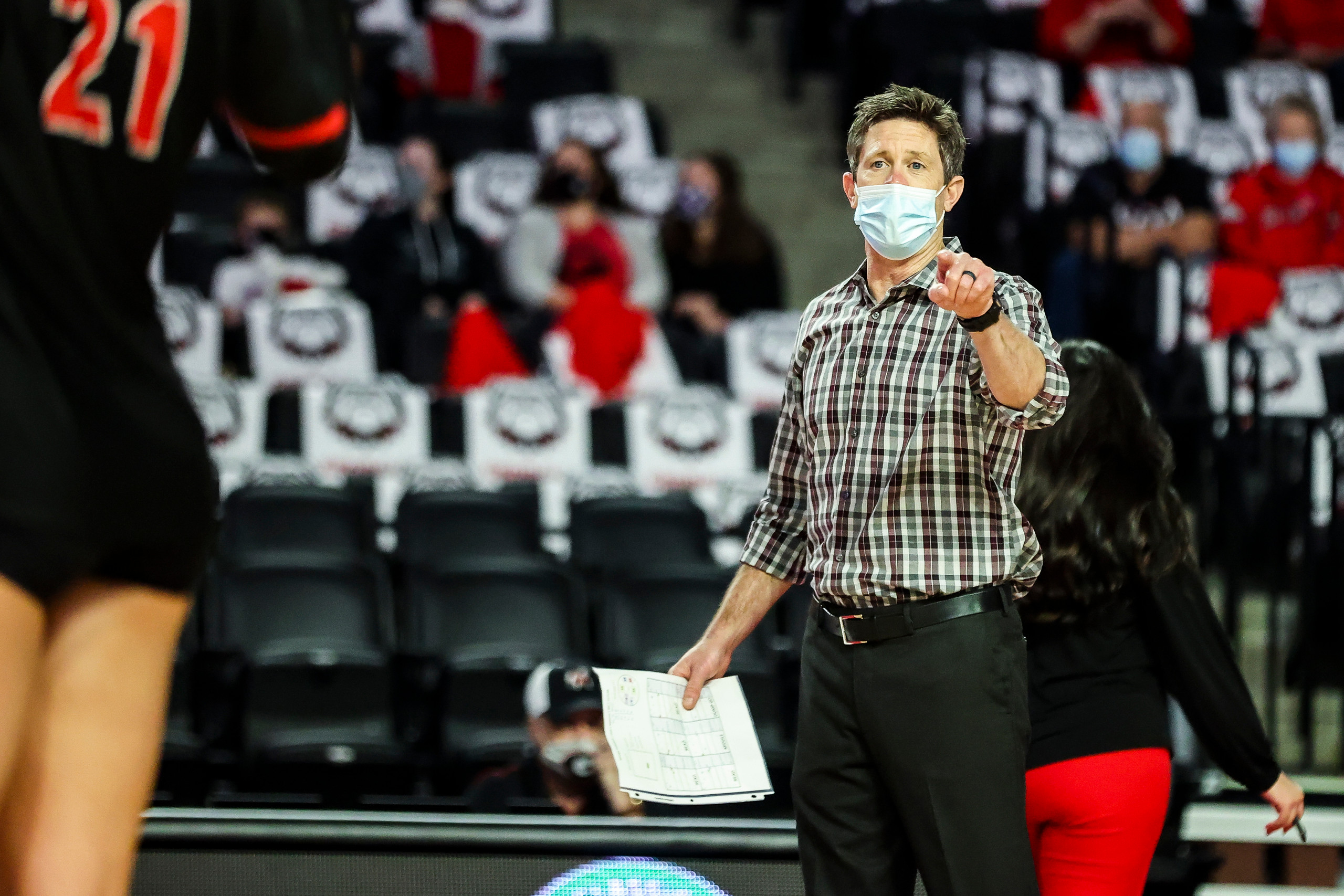 Georgia head coach Tom Black during a match against Alabama in Stegeman Coliseum in Athens, Ga., on Sunday, Nov. 8, 2020. (Photo by Tony Walsh)