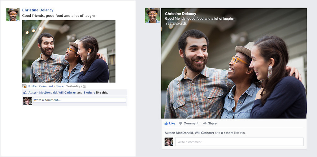 ". Courtesy Facebook - This panel depicts how the redesign of Facebook\'s ""News Feed\"" will look to users. On the left, what a News Feed photo post and caption looks like. On the right, the redesign will allow for the caption to be superimposed right over the photo."