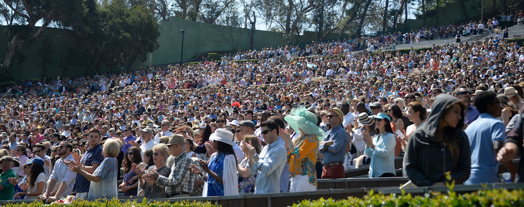 . April 20,2014, Hollywood CA. Crowds up to 15,000 attend the 2014 Hollywood bowl easter service by the Christian Assembly Church, Fellowship Monrovia, and Bel Air Presbyterian Church.  Photo by Gene Blevins/LA Daily News