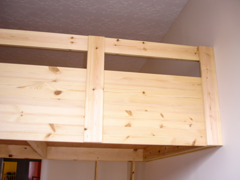 High level bed, for added room in the bedroom.