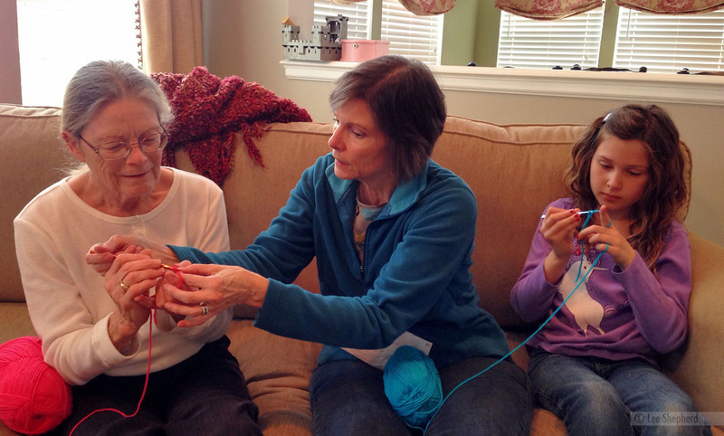 3 generations crocheting!