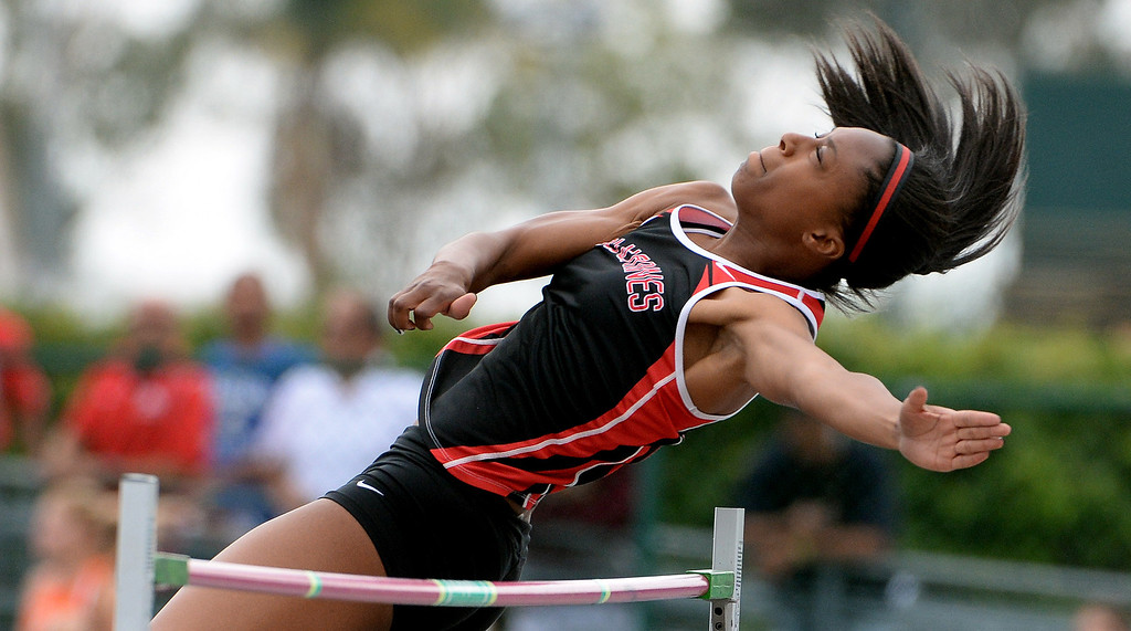 . Harvard Westlake\'s Alexandria Florent competes in the division 3 high jump during the CIF Southern Section track and final Championships at Cerritos College in Norwalk, Calif., Saturday, May 24, 2014.   (Keith Birmingham/Pasadena Star-News)
