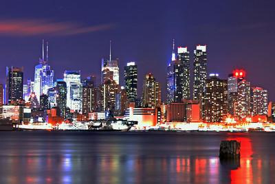 Manhattan Midtown Hudson River Skyline 1-29-12