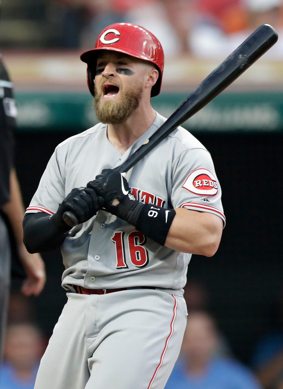 . Cincinnati Reds\' Tucker Barnhart reacts after striking out against Cleveland Indians starting pitcher Trevor Bauer during the seventh inning of a baseball game Tuesday, July 10, 2018, in Cleveland. (AP Photo/Tony Dejak)