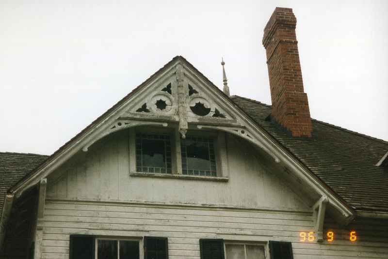 . Broken windows at the James A. Garfield National Historic Site, September 1996. (courtesy James A. Garfield National Historic Site)