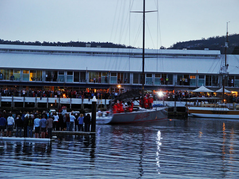 We saw the first maxi yacht, Wild Oats, enter the harbour, to many hundreds of cheering Tasmanians and a sea of television cameras.