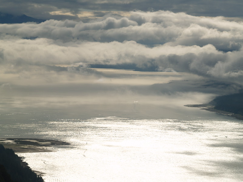 Fog over south Gastineau Channel from Mt. Roberts
