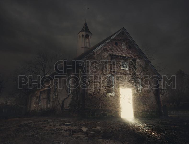 Old church with door