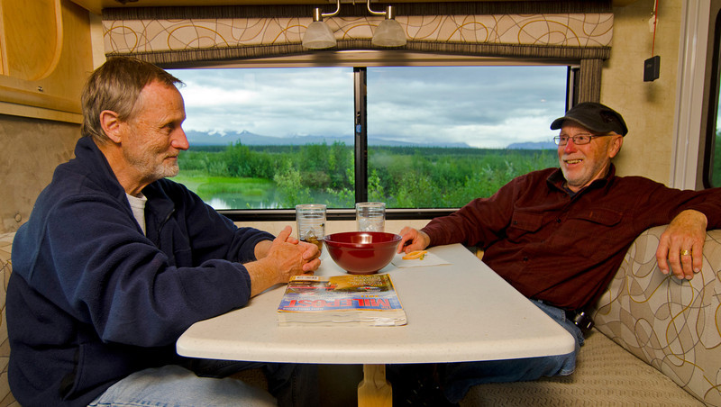 Ted DeGroot and Dave Kelley enjoy the RV life along the Copper River, Alaska.