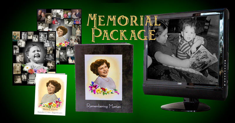 A MEMORIAL PACKAGE can include  any variety of items. This one included: full restoration to all images, a Slide Show, a Deluxe Album, two large Wall Collages, and memorial Handouts.