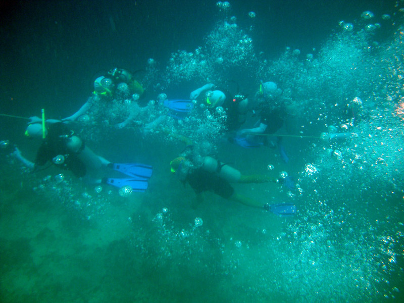 Dive school. Divers follow a guide rope.