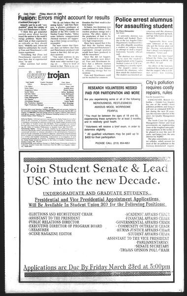 Daily Trojan, Vol. 111, No. 49, March 23, 1990