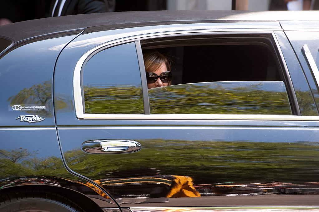 . Melissa Rivers peeks out her limousine window before departing the Joan Rivers memorial service at Temple Emanu-El on September 7, 2014 in New York City. Rivers passed away on September 4, 2014 after suffering respiratory and cardiac arrest during vocal cord surgery on August 28, 2014.  (Photo by D Dipasupil/Getty Images)