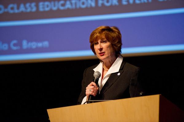 11/8/12 Buffalo Public Schools Superintendent Pamela Brown Speaking at Burchfield-Penney Auditorium