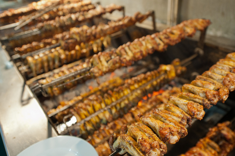 Kababs cooking in the grill - Istanbul, Turkey
