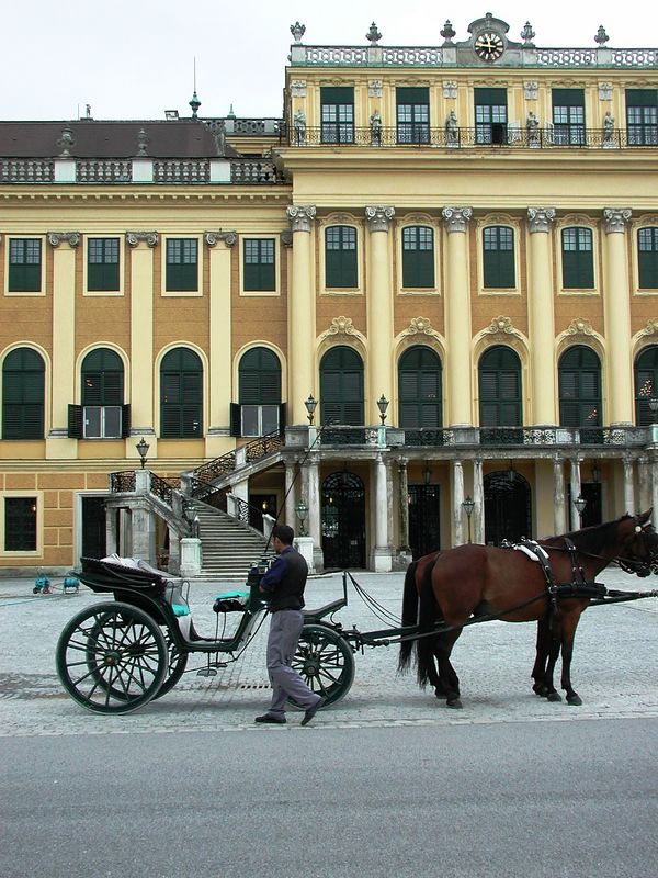 Back out front, a carriage.