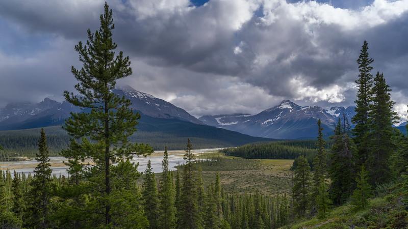 Clouds over landscape, Saskatchewan River Crossing, Icefields Parkway, Jasper, Alberta, Canada