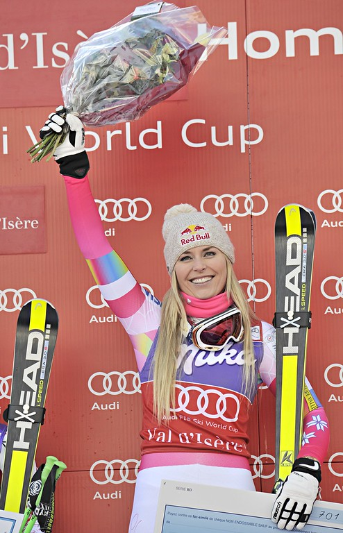 . Lindsey Vonn of the USA takes 1st place during the Audi FIS Alpine Ski World Cup Women\'s Downhill on December 20, 2014 in Val-d\'Isere, France. (Photo by Michel Cottin/Agence Zoom/Getty Images)