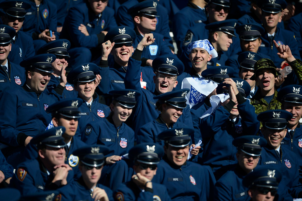 . COLORADO SPRINGS, CO - OCTOBER 26: Air Force cadets have fun in the stands at Falcon Stadium before the game against Notre Dame Saturday afternoon, October 26, 2013. (Photo By Andy Cross/The Denver Post)