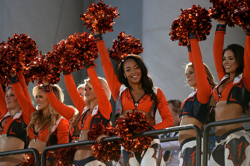 . DENVER, CO - JANUARY 9:  Broncos cheerleaders cheer to fans after the Denver Broncos Super Bowl 50 victory rally in Civic Center Park on February 9, 2016 in Denver, Colorado.   (Photo by Helen H. Richardson/The Denver Post)