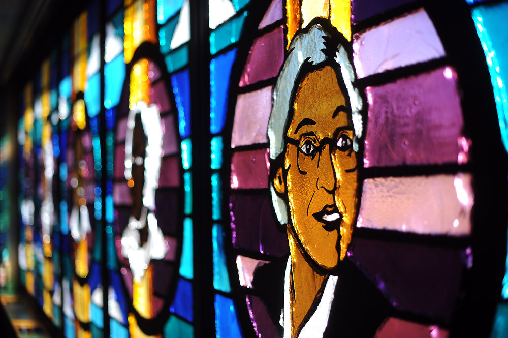 Description of . Detail of Rosa Parks in  the stained glass windows at the Shorter Community African Methodist Episcopal Church in Denver on Thursday, March 8, 2012.  Cyrus McCrimmon, The  Denver Post
