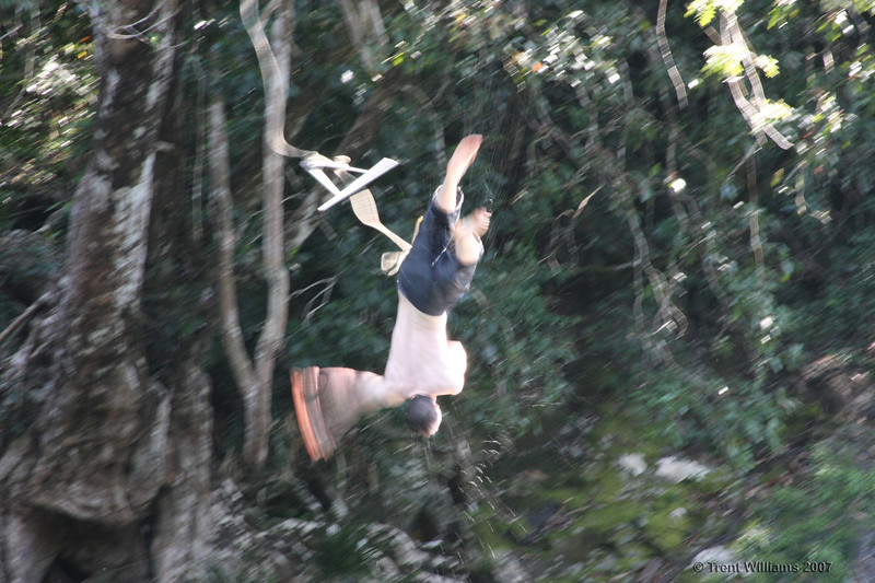 Luke doing a full twisting back flip of a swing at Golden Hole. We set the swing up for the day, and then took it down when we left