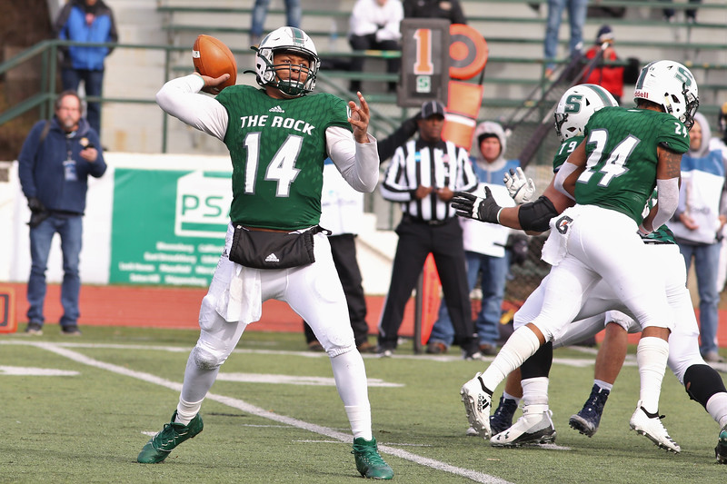 Slippery Rock quarterback Roland Rivers III drops back to pass in Saturday's home playoff game against Shepherd University. Rivers threw for 416 yards and four touchdowns in SRU's 51-30 win. Seb Foltz/Butler Eagle