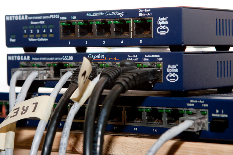 Testing my new flash bracket with a photo of the Belmont network switches.