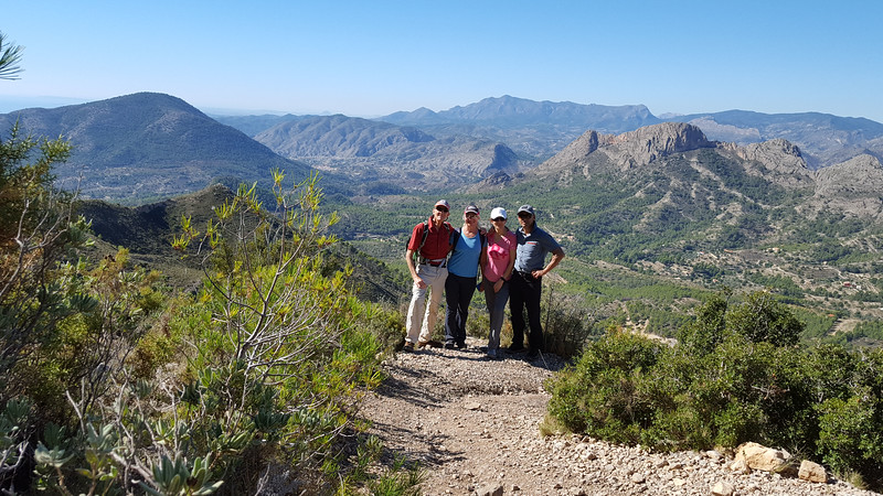 With Vic, Olga, Deborah and Erle on the west of Puig Campana and Castellets in the background