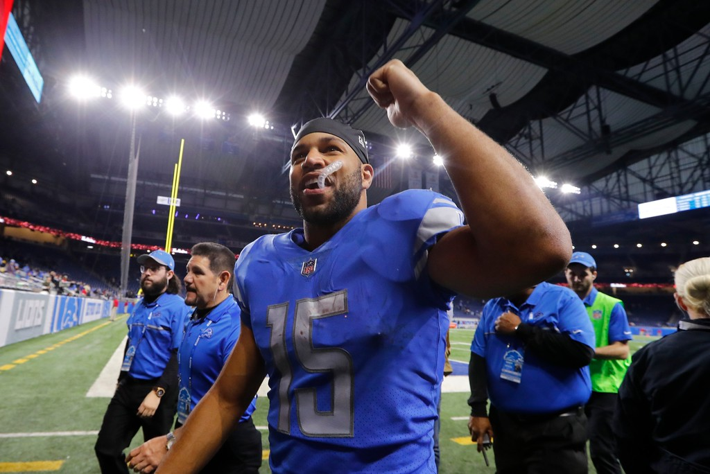 . Detroit Lions wide receiver Golden Tate raises his fist after an NFL football game against the Cleveland Browns, Sunday, Nov. 12, 2017, in Detroit. (AP Photo/Paul Sancya)