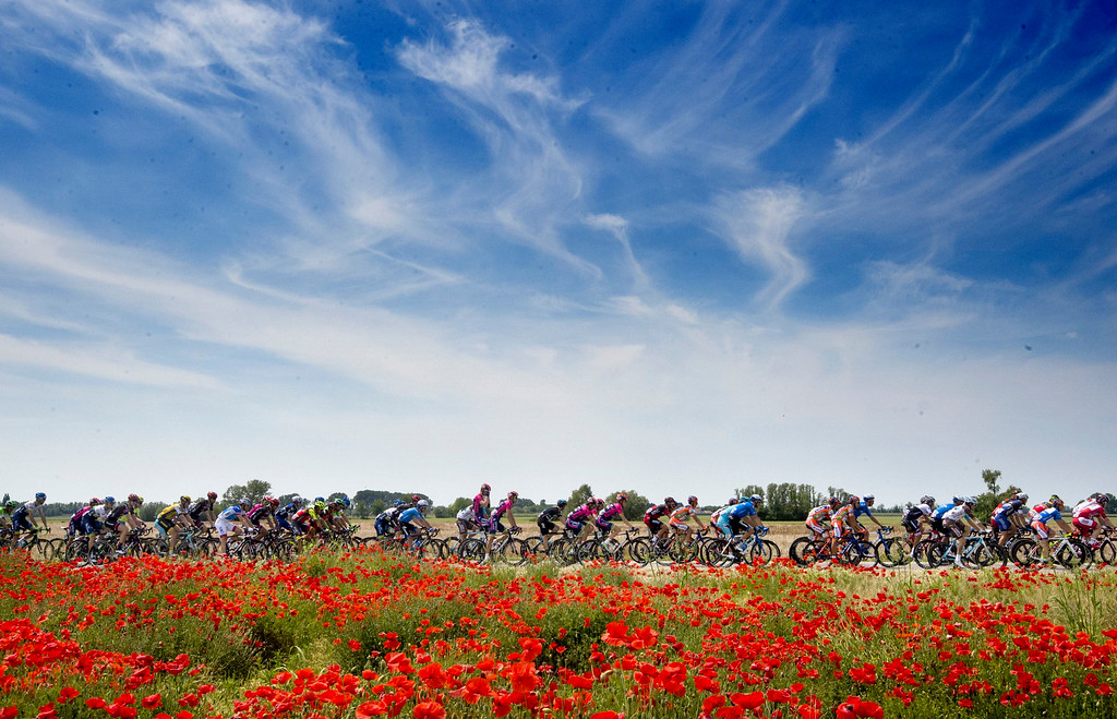 . The pack of riders pedals in the countryside during the eleventh stage of the Giro d\'Italia, Tour of Italy cycling race, from Modena to Asolo, Wednesday, May 18, 2016. (Claudio Peri/ANSA via AP)