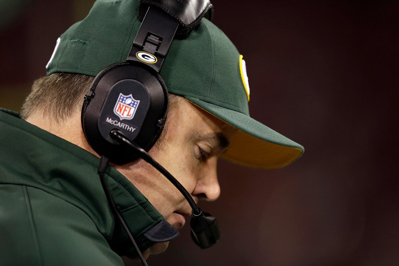 . Green Bay Packers head coach Mike McCarthy stands on the sideline during the fourth quarter of an NFC divisional playoff NFL football game against the San Francisco 49ers in San Francisco, Saturday, Jan. 12, 2013. (AP Photo/Marcio Jose Sanchez)
