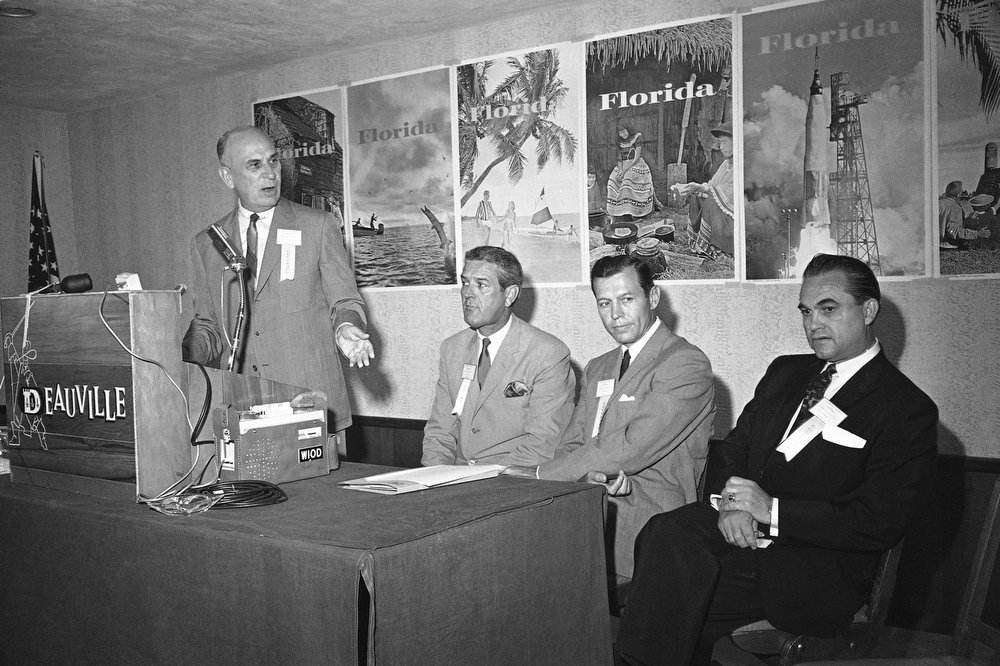 . Governors of four southern states held a news conference in Miami Beach on July 23, 1963 issuing statements opposing forced integration by the federal government, saying segregation is a matter of economics that should be left to the states. Appearing at the conference from left are Gov. Donald S. Russell of South Carolina, Gov. John B. Connally of Texas, Gov. Carl E. Sanders of Georgia, and Gov. George C. Wallace of Alabama. (AP Photo)