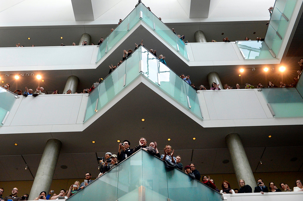 . The crowd cheered when lawmakers and the governor took to the small stage for the bill-signing ceremony at the History Colorado Center in Denver. Senate Bill 11 allows same-sex couples to enter into civil unions.