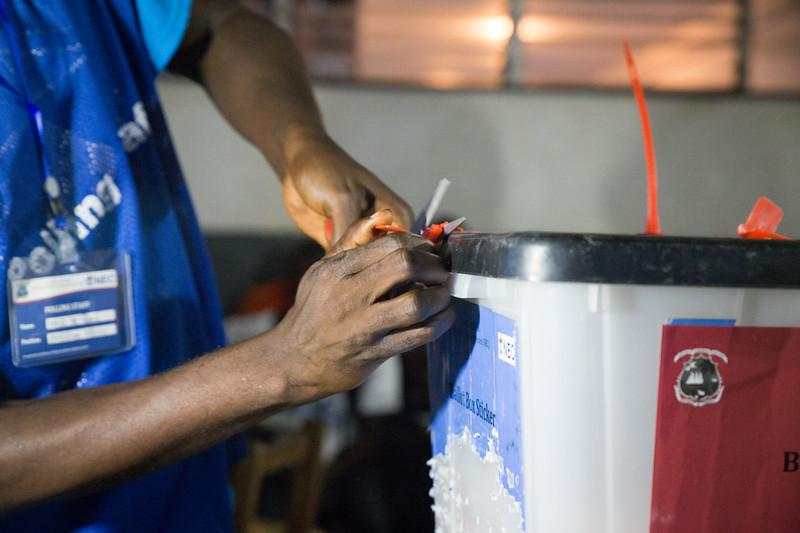 Monrovia, Liberia October 10, 2017 - A ballot box has its seal broken.