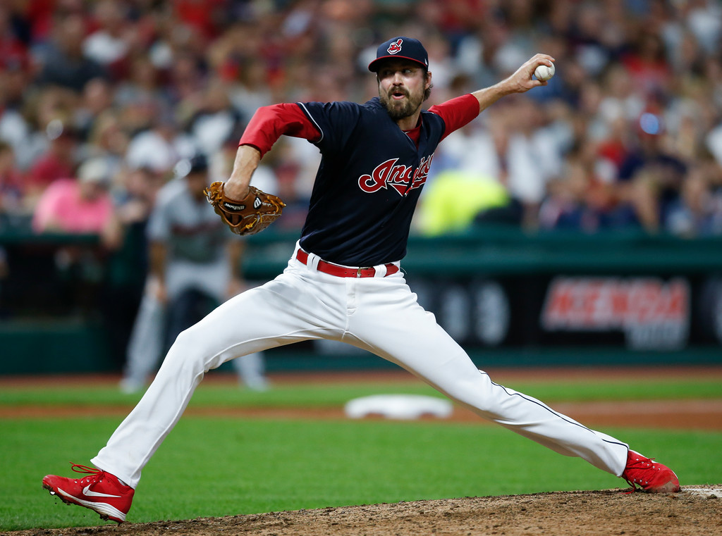 . Cleveland Indians relief pitcher Andrew Miller delivers against the Minnesota Twins during the seventh inning in a baseball game, Tuesday, Sept. 26, 2017, in Cleveland. (AP Photo/Ron Schwane)