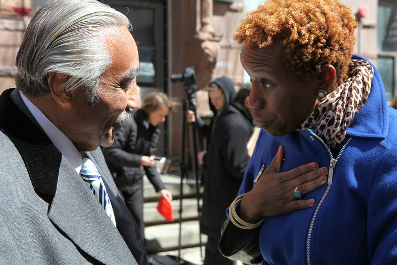 New NYCHA Chair Shola Olatoye with Congressman Charles B. Rangel.