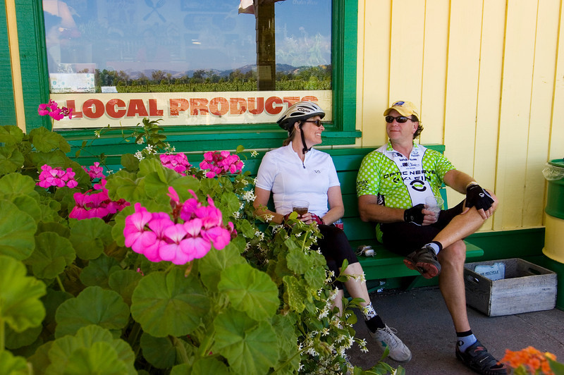 Trek Travel guests rest and refuel at the Jimtown Store before the last 10 miles in to Healdsburg on the California Wine Country Luxury bike Tour.