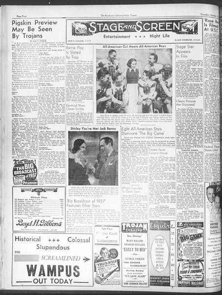 Daily Trojan, Vol. 28, No. 20, October 15, 1936