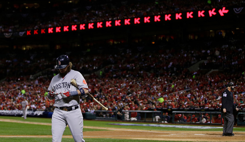 . Boston Red Sox catcher Jarrod Saltalamacchia walks to the dugout after striking out during the third inning of Game 3 of baseball\'s World Series against against the St. Louis Cardinals  Saturday, Oct. 26, 2013, in St. Louis. (AP Photo/Matt Slocum)