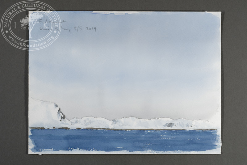 "Prins Karls Forland seen from m/s Origo | 9.5.2019 | ""I want to convey what I see with immediacy and simplicity to make the viewer feel present on the Arctic scene."" 
