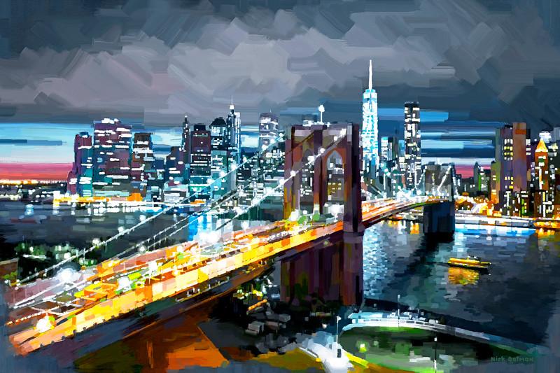 Brooklyn Bridge, New York - Digital Painting