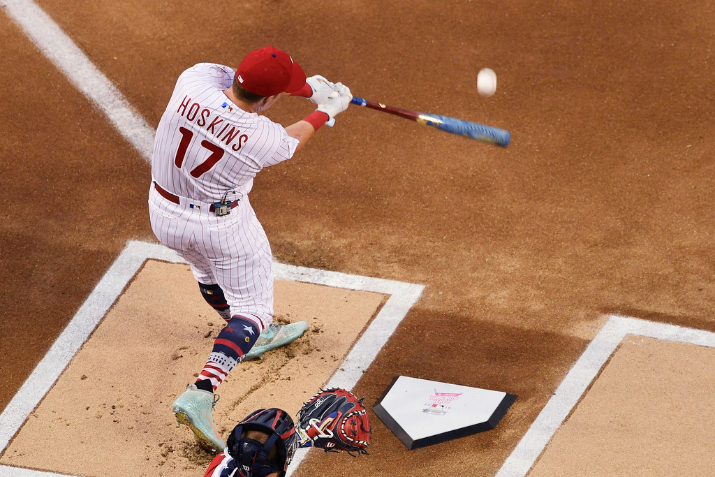 . Philadelphia Phillies Rhys Hoskins (17) bats during the MLB Home Run Derby, at Nationals Park, Monday, July 16, 2018 in Washington. The 89th MLB baseball All-Star Game will be played Tuesday. (AP Photo/Susan Walsh)