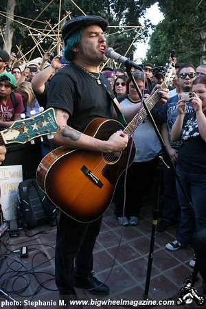 Fat Mike Eric Melvin of NOFX with John Carey at Occupy LA - at City Hall - Los Angeles, CA - November 27, 2011
